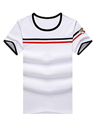 Herren T-shirt-Gestreift Freizeit / Übergröße Baumwolle Kurz-Blau / Weiß