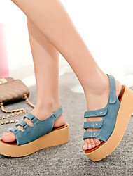 Women's Shoes Leatherette Platform Creepers Sandals Outdoor / Office & Career / Casual Black / Blue / Royal Blue