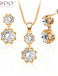 Austrian Crystal Pendants Necklaces Earrings Jewelry Set gifts 18K Gold Plated Fashion Cubic Zirconia S20125