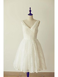 A-line Wedding Dress Knee-length V-neck Lace with Criss-Cross