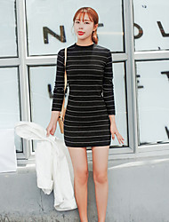 trabalho / casual / dia vestido justo listrado estilo coreano das mulheres, ficar acima de algodão joelho