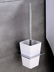 HPB® Contemporary Chrome Finish Brass Wall Mounted Toilet Brush Holder with Ceramic Cup