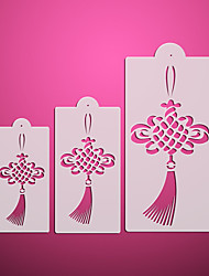 3 Chinese Knot Pattern Cake Stencil,Stencil Tool Kit for Cakes,Cupcake Icing Stencils Decoration ST-3108