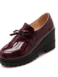 Women's Shoes Patent Leather Wedge Heel Wedges / Platform / Round Toe Loafers Office & Career / Dress / Casual