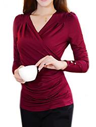 Mulheres Blusa Formal Simples Todas as Estações,Sólido Vermelho / Preto / Marrom Elastano Decote Transpassado Manga Longa Opaca