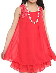 Girl's Pink/Watermelon Round Colloar Lace Stitching Chiffon Sleeveless Dress