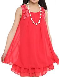 rosa / sandía vestido sin mangas de la gasa de la costura de encaje colloar ronda de la niña