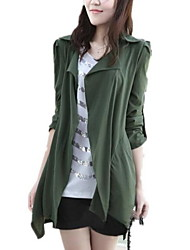 Women's Solid Red / Black / Green Trench Coat , Casual / Day Long Sleeve Cotton Jacket