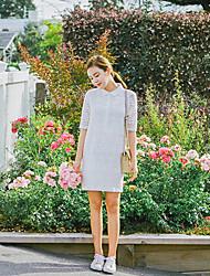 estilo coreano das mulheres casual / dia / vestido solto sólida simples, colarinho da camisa de algodão acima do joelho