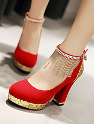 Women's Shoes Leatherette Chunky Heel Heels / Round Toe Heels Wedding / Office & Career / Casual Black / Blue / Red/F-30