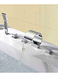 Mlfalls Contemporary Deck Mount Triple Handles Bathroom Waterfall Spout Faucet with Hand Shower