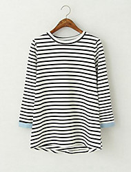 Women's Striped White T-shirt , Round Neck Long Sleeve