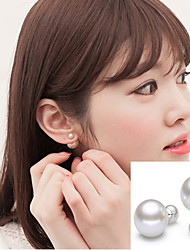 White Imitation Pearl Double Ball Stud Earrings