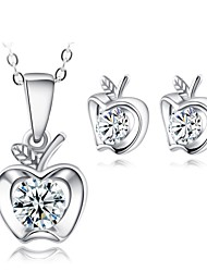 Jewelry Set Shining Crystal Elegant Apple Pendant Necklace Earring(Assorted Color)