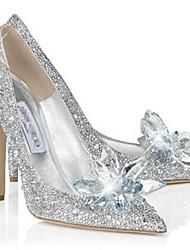 DamenBüro / Kleid / Lässig / Party & Festivität-Glanz-Stöckelabsatz-Absätze-Silber