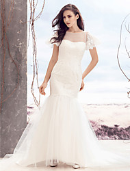 Lanting Bride® Fit & Flare Wedding Dress Sweep / Brush Train Bateau Lace / Tulle with Button / Lace