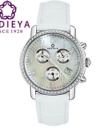 KEDIEYA White Genuine Leather 60 Zircon Diamond Mosaic Calendar Date Chronograph Ladies Womens Watches Gifts Cool Watches Unique Watches