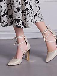 Chaussures Femme - Bureau & Travail / Habillé / Décontracté - Noir / Rouge / Blanc / Beige - Gros Talon - Talons / Bout Pointu - Talons -