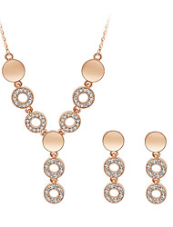 Jewelry Set Elegant Crysta Circle Pendant Necklace Earring Gift
