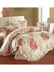 House Full Of Flowers,High-end Full Cotton Reactive Printing Stripe Pattern Bedding Set 4PC, FULL/Queen Size