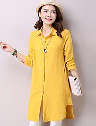 Women's Solid Blue / Pink / Yellow Loose Thin Shirt , Shirt Collar Asymmetric Cotton / Linen