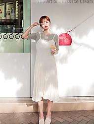 O estilo de mulheres coreanas casual / dia / simples vestido da bainha sólida, alça de midi algodão