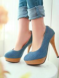 Mujer-Tacón Stiletto-Tacones / Plataforma / Punta RedondaOficina y Trabajo / Vestido / Casual-Vaquero-Azul / Azul Real