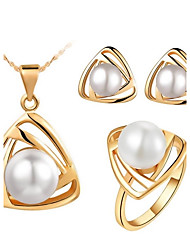 Jewelry Set Elegant Imitation Pearl Triangle Pendant Necklace Earring Ring Gift for Bride