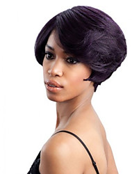 High Quality Fashional Women Black Color Lady Wavy Short Synthetic Hair Wigs