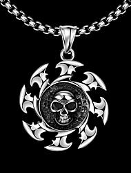 Maya Fashion Generous Ferris Wheel Skull Man Stainless Steel Pendant Necklace(Gray)(1Pcs)