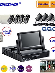 Strongshine® IP Camera with 720P/Infrared/Water-proof And 4CH NVR with 7Inch LCD/1TB Surveillance HDD Combo Kits