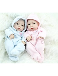 NPKDOLL Reborn Baby Doll Hard Silicone 11inch 28cm Waterproof Toy Hooded clothing Blue Pink Boy and Girl