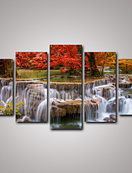 5 Panels Red Maple Tree and the Waterfall Landscape Canvas Print Art for Livingroom Decoration Unframed