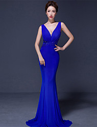 Formal Evening Dress - Ruby / Royal Blue / Black Trumpet/Mermaid V-neck Sweep/Brush Train Jersey