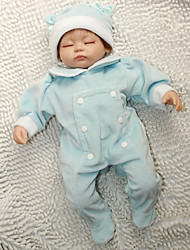 NPKDOLL Reborn Baby Doll Soft Silicone 18inch 45cm Magnetic Lovely Lifelike Cute Boy Girl Toy Blue Dress Eyes Close
