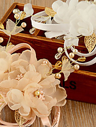 Bride's Organza Imitation Pearl Forehead Wedding  Hair Clip Accessories 1 Pieces