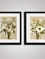 Framed Beige  Flowers  Picture Print  on Canvas  for Office Decoration 40x50cmx2pcs Ready To Hang