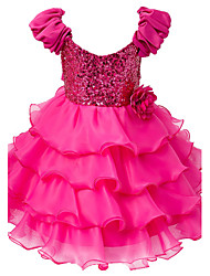 Baby Girl's Fuchsia Dress Polyester Floral Evening Party Wedding Bridesmaid Cake Dresses with Puff Sleeve and Sequin Top