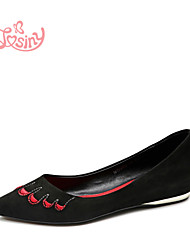 Women's Shoes Fleece Low Heel Pointed Toe Boat Shoes Casual Black / Red