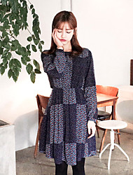 Korean Style Women's Work / Casual / Day Polka Dot Loose Dress , Round Neck Above Knee Polyester