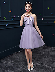 Short/Mini Crepe Bridesmaid Dress - Ruby / Lavender / Pearl Pink / Clover / White / Champagne A-line Sweetheart