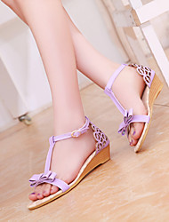 Women's Shoes Leatherette Wedge Heel Wedges Sandals Outdoor / Office & Career / Casual Blue / Pink / Purple / Silver