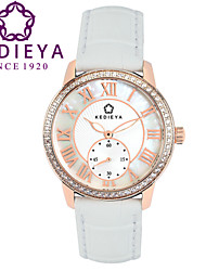 KEDIEYA White Genuine Leather Zircon Diamond Mosaic Small Second Dial Rose Gold Case Watch Ladies Womens Watches