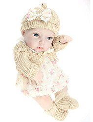 NPKDOLL Reborn Baby Doll Hard Silicone 11inch 28cm Waterproof Toy Floral Skirt Khaki Girl
