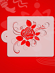 Square Rose Design 5# Large Fondant Stencil,Cake Top Stencil Template,Wedding Cake  Wall Stencils,Valentines ST-3183