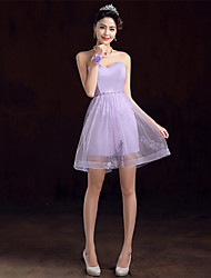 Short/Mini Crepe Bridesmaid Dress - Lavender / Pearl Pink / Champagne A-line Sweetheart