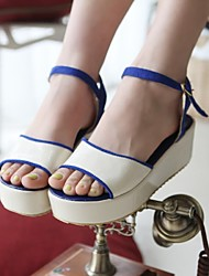 Women's Shoes Velvet / Patent Leather Wedge Heel Wedges / Platform Sandals Dress / Casual Blue / Green / Red