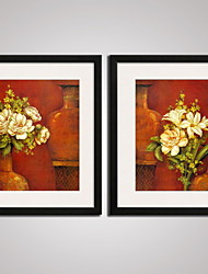 Framed Famous Vase and Flowers Picture Print  on Canvas  for Wall Decoration 40x50cmx2pcs Ready To Hang