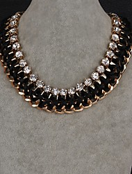 Fashion Generous Diamante Multiple Linked Petal Gold-Plated Chain Necklaces(Gold, Dark Blue) (1PC)
