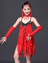 Latin Dance Dresses Children's Performance Milk Fiber Tassel(s) 6 Pieces Fuchsia / Red